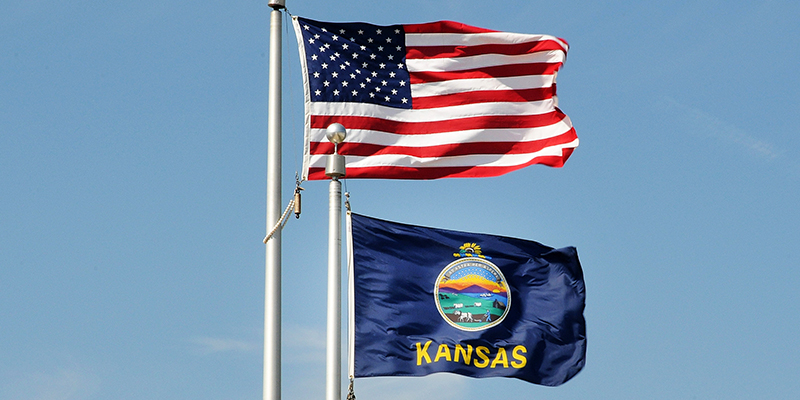 Flags of the United States and Kansas