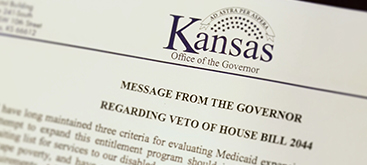 Governor Sam Brownback vetoes Medicaid Expansion