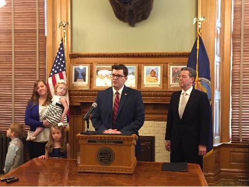 Governor Sam Brownback appoints Sen. Jake LaTurner as Kansas State Treasurer